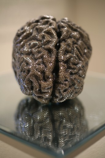 """Medusa"" - Hand carved MRI-rendered slipcast porcelain, black oxide, mirror. 12 x 12 x 8"" - 2014."