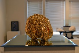 """Midas"" - MRI-rendered slipcast porcelain, gold luster, mirror. 12 x 12 x 8"" - 2014."