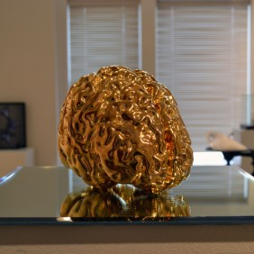 """Midas"" - MRI-rendered slipcast porcelain, gold luster, mirror. 12 x 12 x 8"" - 2014."