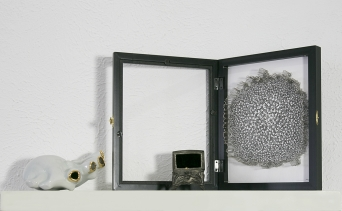 """Composition of Objects: """"Fetish Object III"""" - porcelain, gold luster - 6 x 5 x 4"""" - 2015. """"Heirloom"""" - porcelain, gold luster, antique pewter box - 4 x 3 x 3"""" - 2012. """"Study for Freud's Dream Therapy III"""" - archival ink on paper, pins, frame"""" - 9 x 12"""" - 2015."""